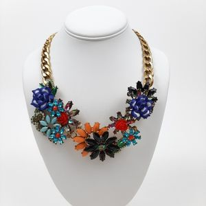 3D Floral Crystal Statement Necklace Gold Chain